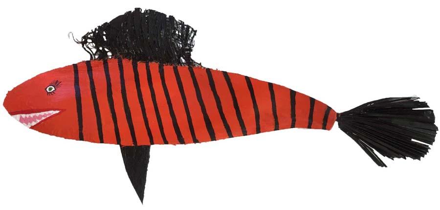 Röd med svarta ränder